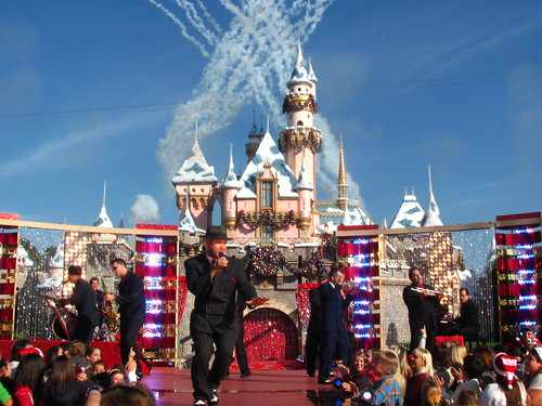 Big Bad Voodoo Daddy performs in front of Sleeping Beauty Castle