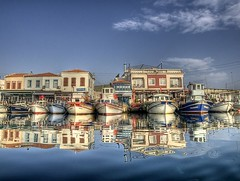 skele,Urla (Nejdet Duzen) Tags: trip travel reflection turkey boat bravo trkiye fisher iskele sandal izmir yansma turkei seyahat urla balk