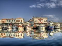 skele,Urla (Nejdet Duzen) Tags: trip travel reflection turkey boat bravo trkiye fisher iskele sandal izmir yansma turkei seyahat urla balk