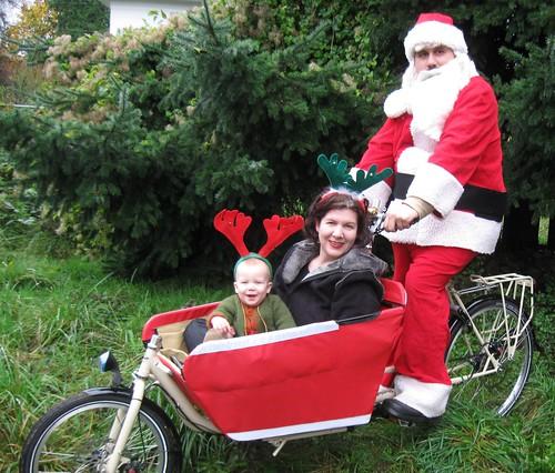 Santa rides a ShuttleBug