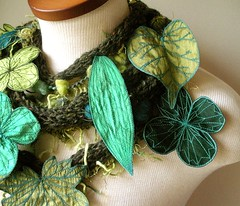 Long and Leafy Scarf with Embroidered Leaves- Tweedy Forest Green with Sap Green, Light Olive, and Teal Berries (Betsie Withey) Tags: flowers motion tree art nature leaves mi forest scarf woodland botanical leaf women knitting felting embroidery michigan unique crochet inspired free vine folklore elf fairy fantasy jungle accessories organic etsy wearable fiberart emerald embroidered saugatuck faerie enchanted donegaltweed applegreen forestgreen arttowear silkdupioni artscarf fairywear