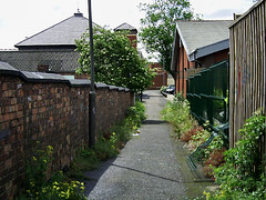 footpath (Hawk92) Tags: brick wall weeds derbyshire shortcut fences footpath longeaton