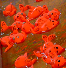 Orange plastic fish used in midway  game.at Red River Exhibition