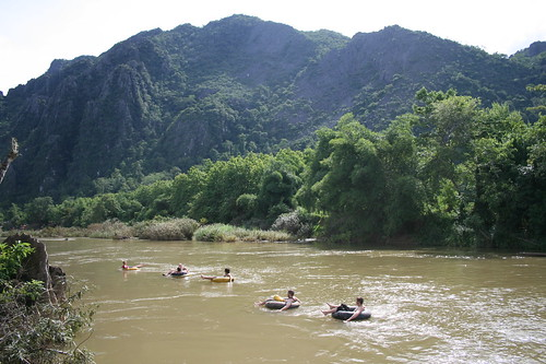 Tubing in Laos down the Nam Song River