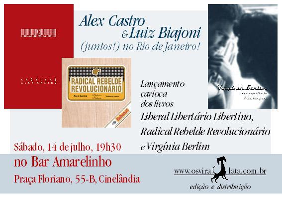 Propaganda dos lançamentos dos livros do Alex e do Biajoni