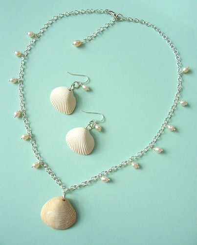 Polymer clay shell pendant necklace and earrings with sterling silver and freshwater pearls: July PCAGOE challenge entry