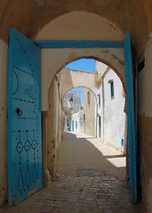 A lonely view in Tunisia (Peace Correspondent) Tags: africa street door blue beautiful architecture d50 alley nikon mediterranean arch tunisia tunis alleyway streetscape bluedoor 2007 northernafrica 5photosaday tuniz fv30 views1250 july2007 coolestphotographers llovemypic peacecorrespondent