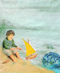 boy toy boat (hadley hutton) Tags: ocean bridge blue boy sea green art water yellow fog illustration pencil ink river print asian boat sand beige paint acrylic waves play mixedmedia fineart victorian tan wave astoria l gouache saiboat