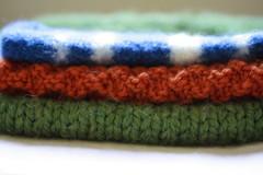 knitting (UncommonGrace) Tags: blue orange white green knitting