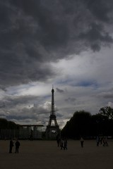 Eiffel Tower before the storm