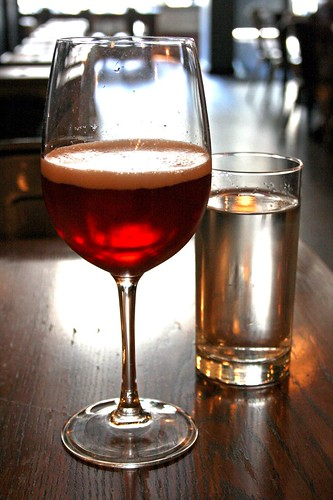 Framboise Mimosa and water glass