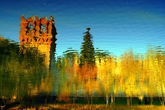 Autumn abstract (Tran_Thaohien) Tags: autumn abstract leave church leaves yellow landscape landscapes russia moscow scene reflexions hien thao tran thu ih monastry  novodevichy vng bng nc mathu thaohien mathuvng trnthohin