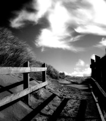 boardwalk - formby - england (~ paddypix ~) Tags: sea sky blackandwhite nature photoshop shoreline angles picasa objects moodyblues ukandireland iusedpicasa seasunclouds
