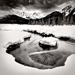 Kananaskis (Luke Austin) Tags: blackandwhite bw snow canada ice kananaskis frozen alberta banff lukeaustin nikond3x