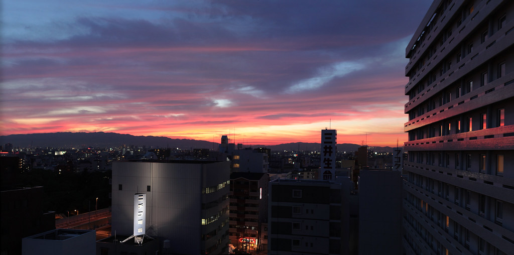 At sunset in Osaka