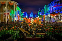 Gotta love Main Street at Halloween (explored) (Adam Hansen) Tags: party sky castle halloween statue photoshop orlando nikon florida disney adobe minniemouse wdw waltdisneyworld mainst mk magickingdom lightroom mainstreetusa roydisney d90 mnsshp mickeysnotsoscaryhalloweenparty explored disneyphotochallenge disneyphotochallengewinner wdwphotography