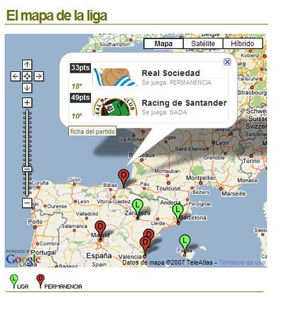 pantallazo del mapa de la liga