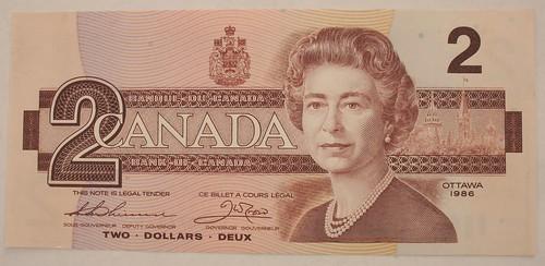 canadian 2 dollar bill back. Canada 1986 Two Dollar