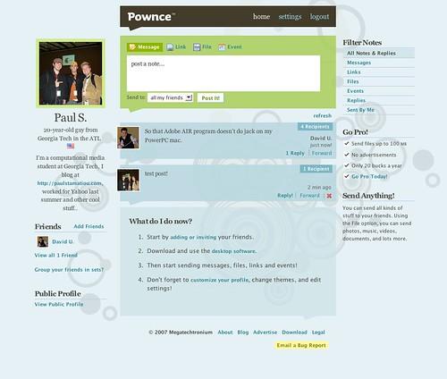 página de Pownce