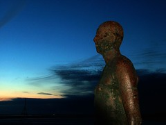 Gormley Statue (Michael Whelan) Tags: night liverpool fuji gormley crosby capitalofculture huyton liverpool08