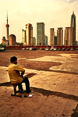 first row. (chris spira) Tags: china people skyline contrast person sitting shanghai parking first row shanghaiist impression jinmao fron pudung