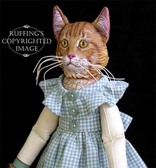 """Ginger and George"" by Max Bailey (ruffingsartdolls) Tags: blue original orange cats white green art yellow cat gold ginger kitten doll acrylic folkart dolls ooak tabby alligator kittens gingham artdolls fantasy artdoll tabbycat ecru maxbailey"