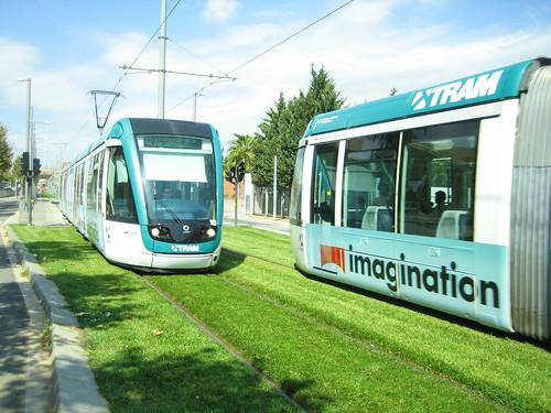 tram on grass