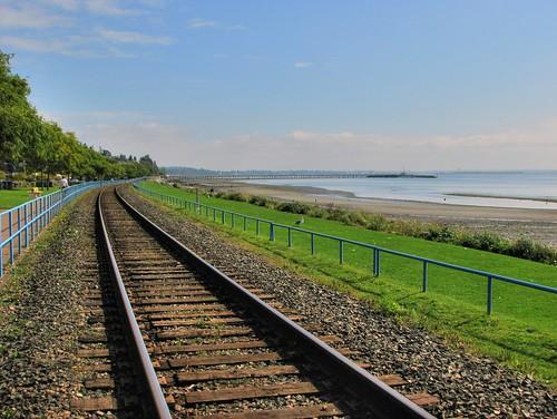 White Rock beach and train tracks