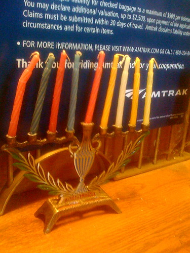 Menorah at Hudson Amtrak Station