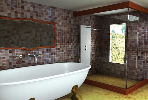 bathroom interior design in nice architecture with a big bath tub, mirror, wall ceramics and beautiful floor.