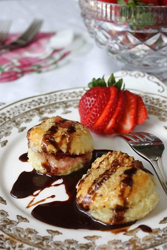 "Flaky Brie Cheese & Strawberry Puff Pastry ""Ravioli"" Recipe with Chocolate Sauce"
