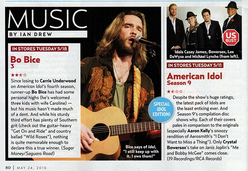 Bo Bice, American Idol 9 CD Review US Weekly