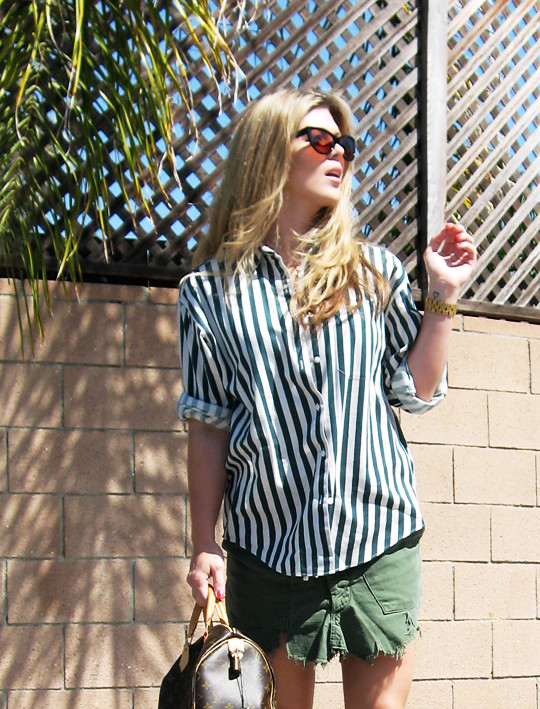 striped button down+DIY cargo skirt+TOMS shoes+Louis Vuitton speedy -7, fashion, clothes, shopping, style, what to wear, military, cargo, 80's, 90's, vintage fashion, blonde hair, tom ford anouk sunglasses