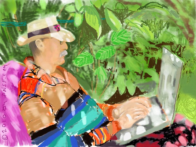 """iPad Portrait of Howard Rheingold at Work in His Garden: """"Welcome to My World"""""""