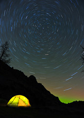 Star Trails (mj.foto) Tags: longexposure night landscape washington nikon ast unitedstates astrophotography cascades pacificnorthwest 24mm ursamajor bigdipper polaris milkyway northstar sierradesigns ingallspass d700 lakeingalls 4seasontent fourseasontent stretchdome3