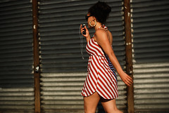 peppermint (Diana Pappas) Tags: nyc woman dress stripes cellphone etsy portfolio hoops hellskitchen workinit handsfreedevice catcalltarget