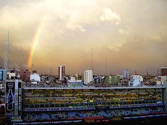 Tierra Santa / Holy Land (Pankcho) Tags: sunset sky argentina rain skyline arcoiris buildings atardecer la lluvia rainbow edificios buenosaires view stadium explore estadio cielo vista 12 boca bocajuniors bombonera bosteros naturewatcher lamitadmásuno