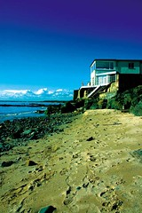 at the coast (M.Jacob) Tags: blue sea house color beach coast sand fife path wave multicolored costal dhne