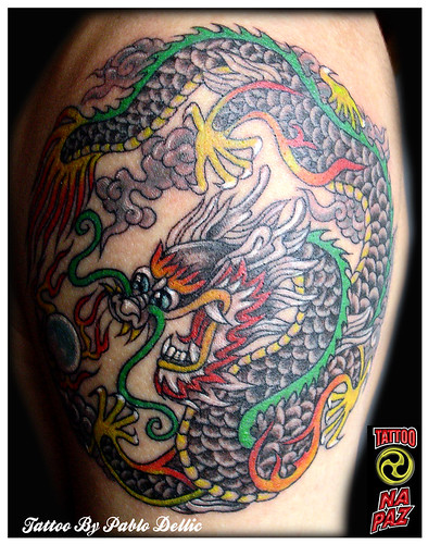 Na Paz ) Tatuagem de Dragão Chines , Chinese Dragon Traditional Tattoo