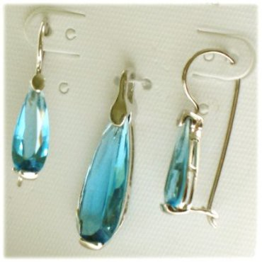 Tear Drop Sterling Silver and Blue Cubic Zirconia