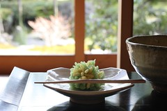 peaceful tea time... (bananagranola (busy)) Tags: food japan dessert japanese kyoto tea traditional sweets japanesefood matcha teatime teahouse wagashi shimogamo chashitsu saryo