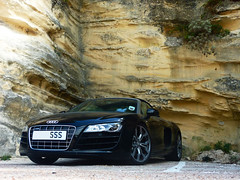 Under the cliff... (Fiorano 2a | Guillaume E.) Tags: cliff black cars car corse spyder panasonic exotic guillaume audi falaise sss spotting dmc v10 capote roadster cabriolet sighting r8 bonifacio dcapotable tz7