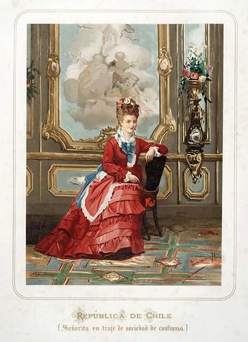009-Republica de Chile-Señorita en traje de sociedad-Las Mujeres Españolas Portuguesas y Americanas 1876-Miguel Guijarro