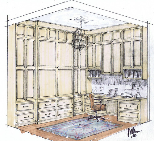 Rendered sketch of a small, traditionally detailed home office