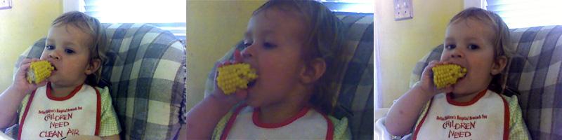 Eating a corn cob