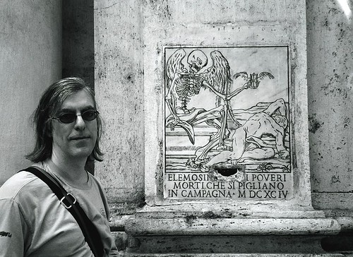 Todd Mecklem in front of the Church of Santa Maria dell'Orazione e delle Morte, Rome