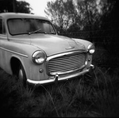 Vintage Commer Pickup (explored) (schoeband) Tags: bw 120 6x6 mediumformat interestingness iso400 ruraldecay commer vintagetruck holga120gcfn top500 rolleir3