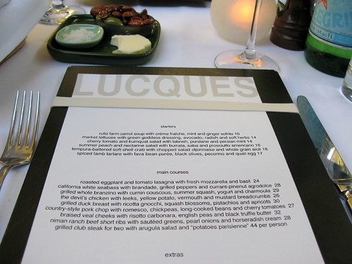 Menu at Lucques