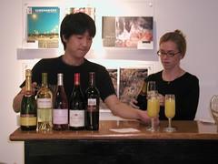 Beret & June making mimosas (sfcamerawork) Tags: sanfrancisco art bar photography gallery auction journal event mimosa fundraiser cultivation nonprofit sfcamerawork fineprint fineartprint