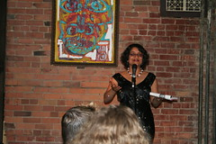 Reading from Stealing Nasreen (Foto Red Eye) Tags: party june launch nasreen stealing 2007